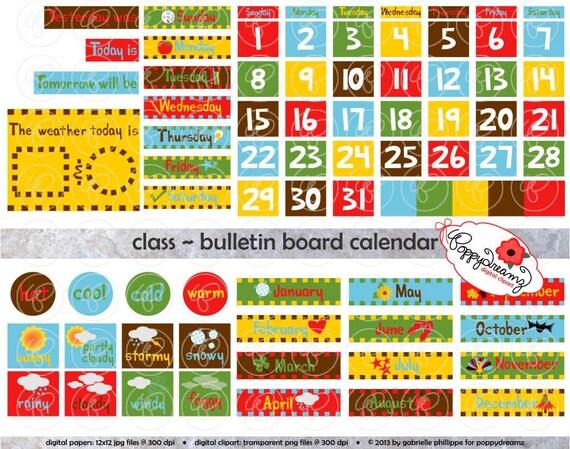 Class Bulletin Board Calendar Clipart SET 300 dpi School Etsy - calendar class