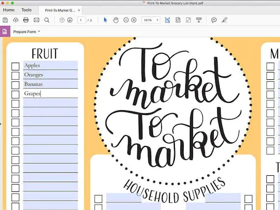Meal Planner and Grocery List Editable PDF Printable Planner Etsy