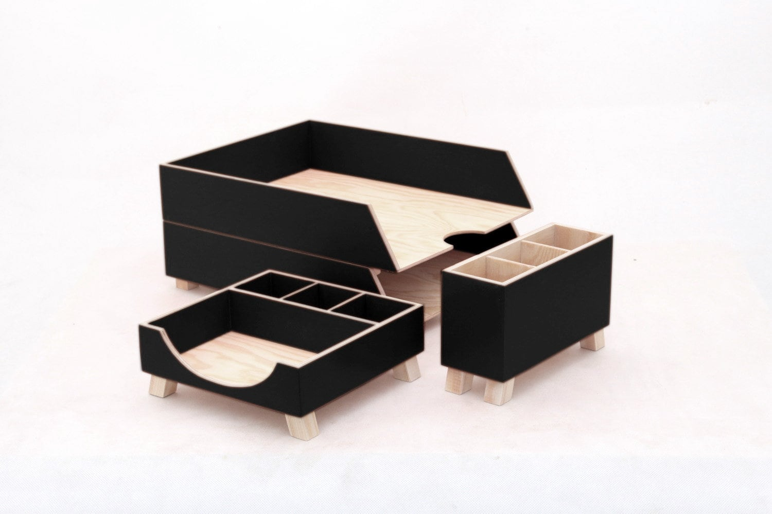 Wood Desk Organizer Set Black Wood Desk Organizer Desk Accessories Black Office
