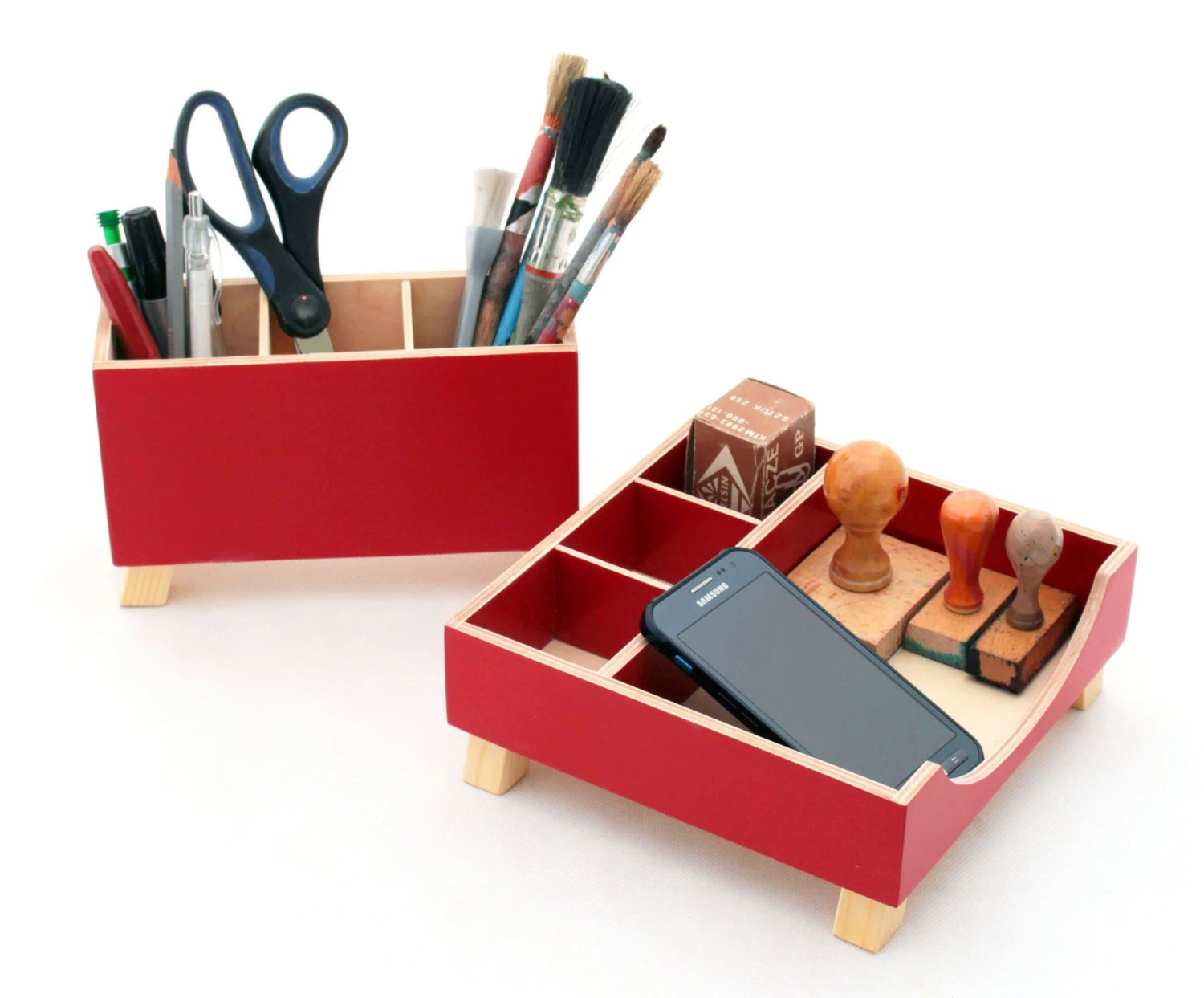 Wood Desk Organizer Set Red Desk Organizer Desk Accessories For Office Desktop