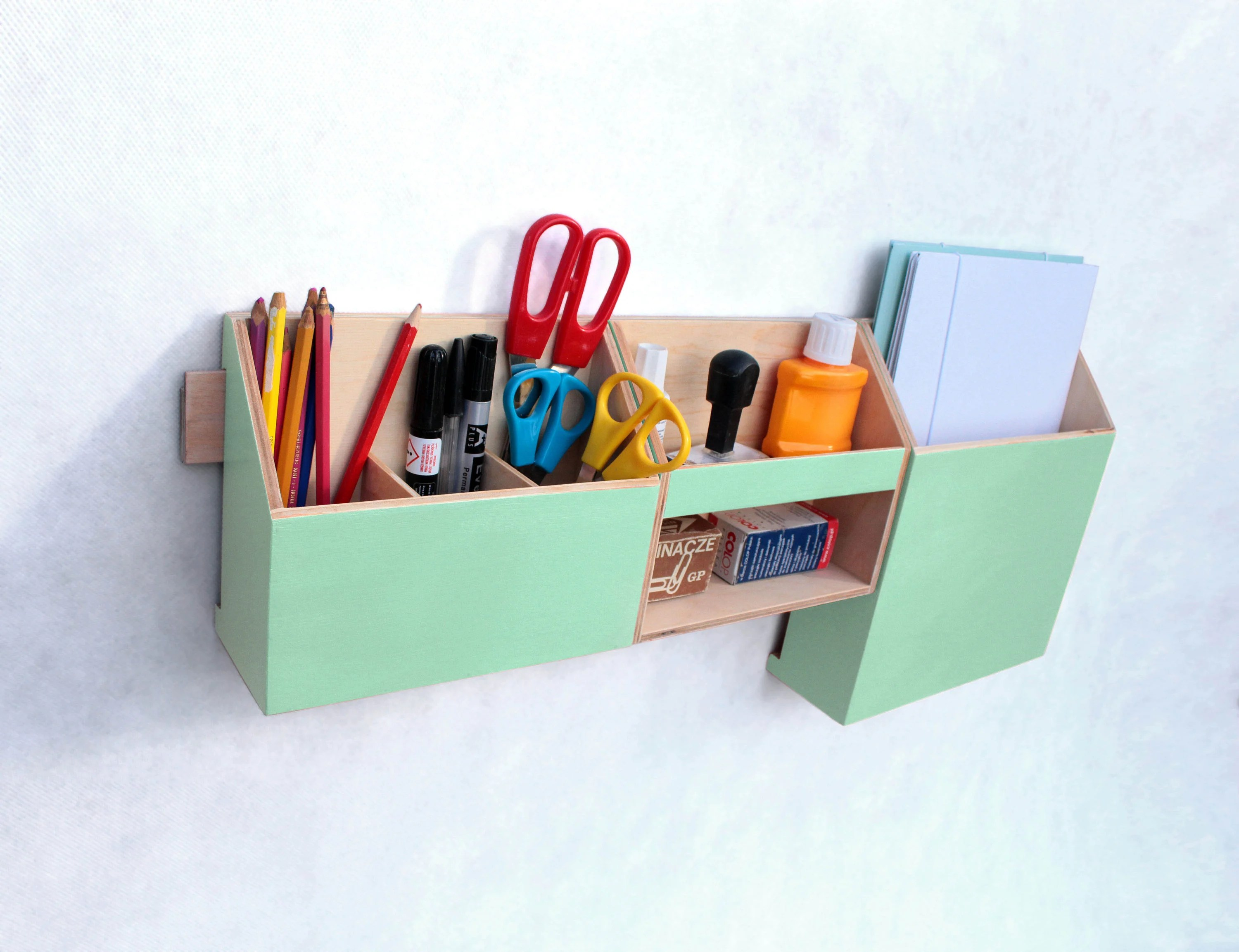 Wood Desk Organizer Set Wall Organizer Mint Green Wall Wood Set Mint Desktop