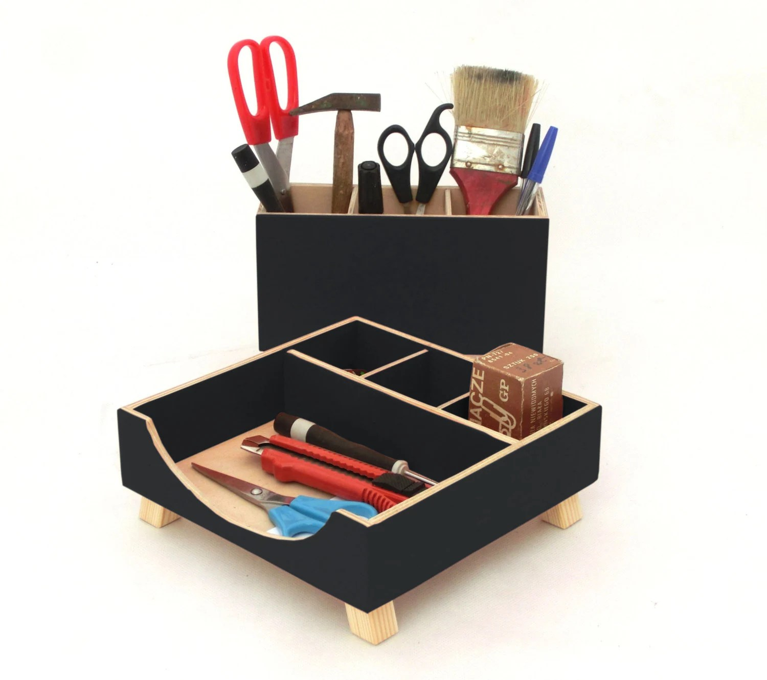 Wood Desk Organizer Set Desk Organizer Black Desk Accessories Wood Desktop