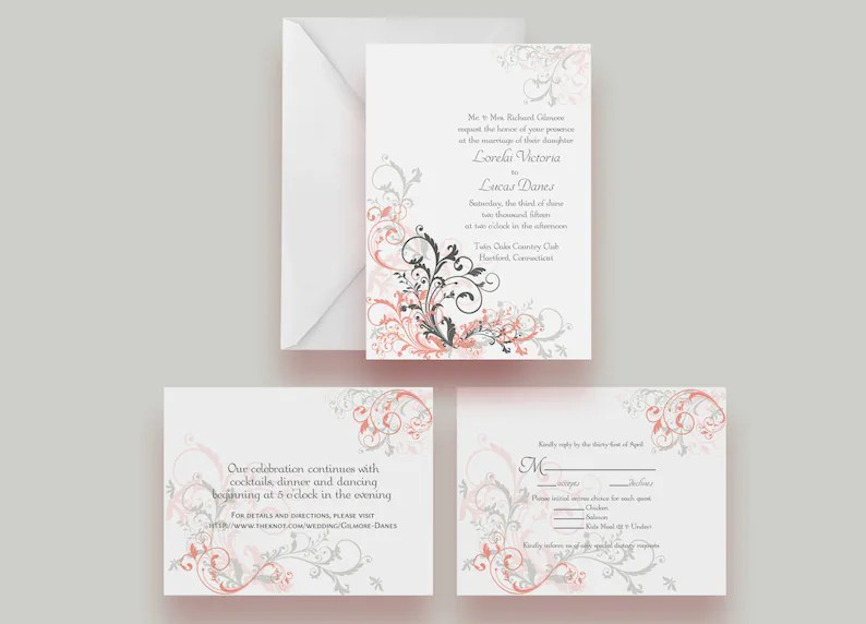 Printable Wedding Invitation Suite Invite Response Card Etsy