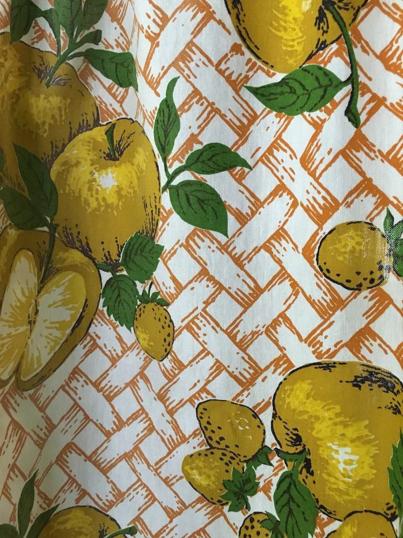 Lemon Green Curtains Cafe Curtains And Valance Yellow White Orange Green Lattice Design 1960 S Apples Strawberries Set Of 3 Pieces Retro Kitchen Bright Sweet