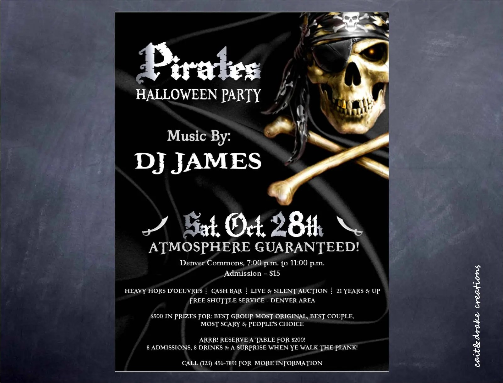 Pirate Halloween Party Costume Contest Flyer Digital Print Etsy