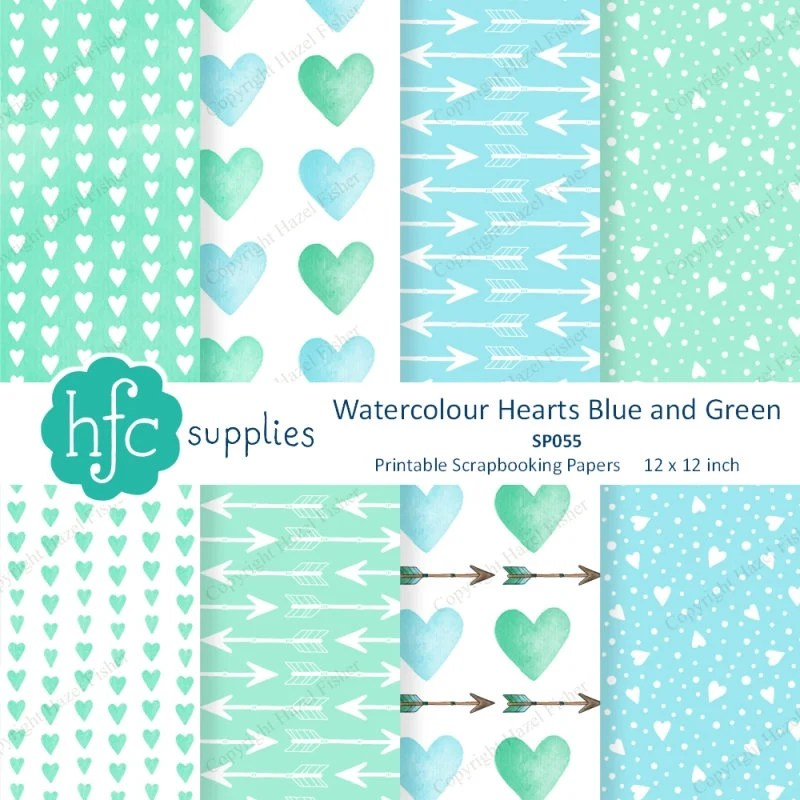Watercolour Hearts Blue and Green Patterned Scrapbook Papers