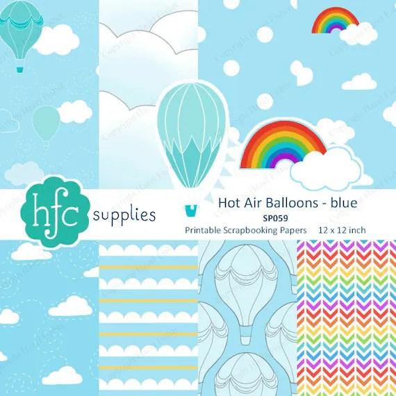 Hot Air Balloons Blue Scrapbook Paper set, clouds, hand drawn