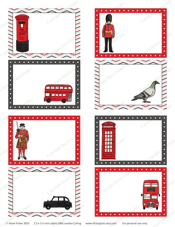 London Calling Printable Labels - British, soldier, bus, taxi