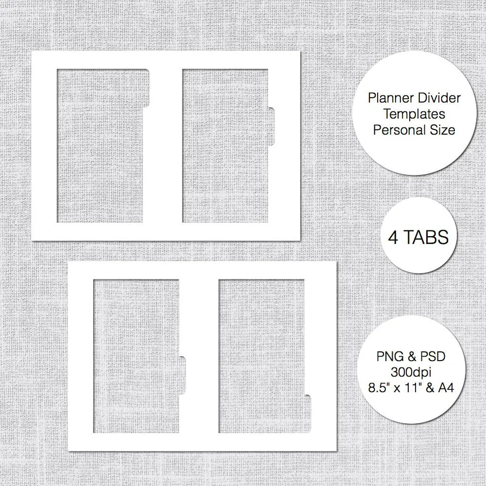 Personal Planner Divider Template 4 Tabs PSD  PNG Instant Etsy