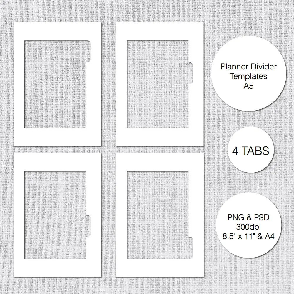 A5 Planner Divider Template 4 Tabs PSD  PNG Instant Etsy