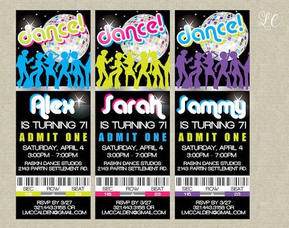 Dance Birthday Party Tickets Invitation 80\u0027s Dance Etsy