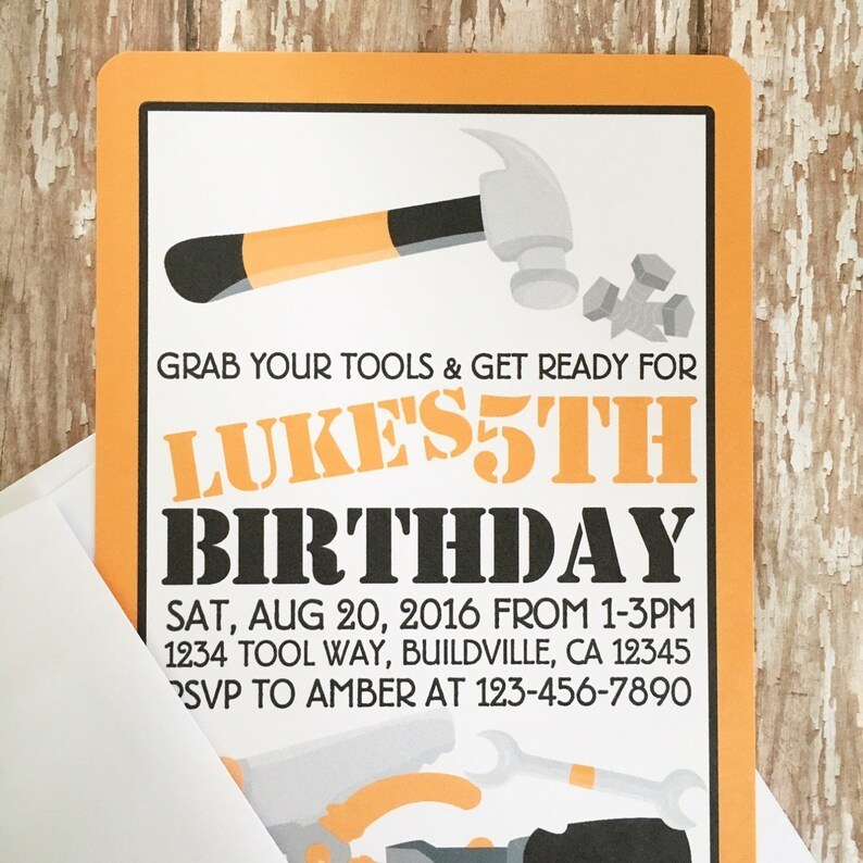 12 tool party invitations with envelopes tool birthday party Etsy