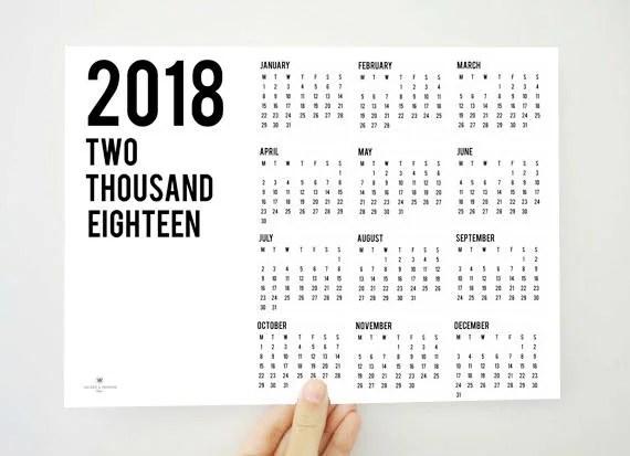 Year on the Top Yearly Calendar 2018 Printable Calendar 2018 Etsy