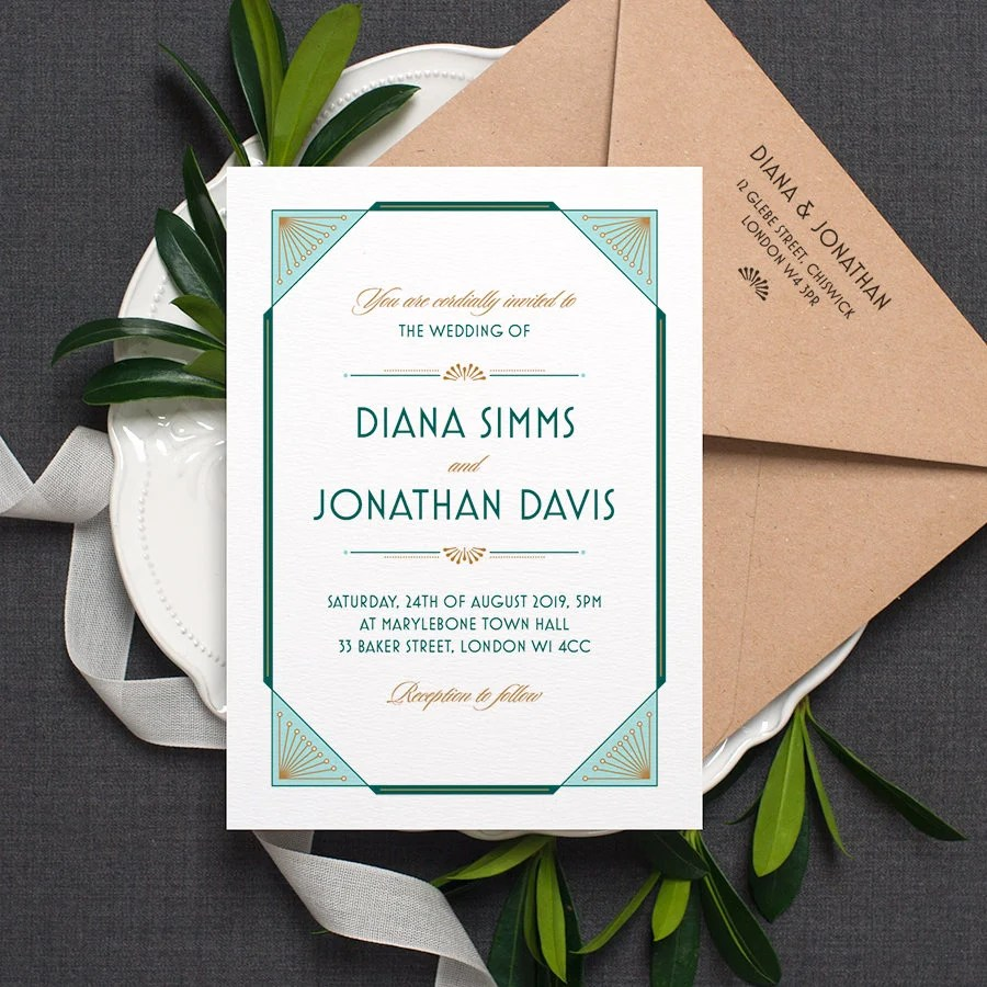 Art Deco Wedding Invitation / \u0027Gatsby\u0027 1920s Modern Etsy