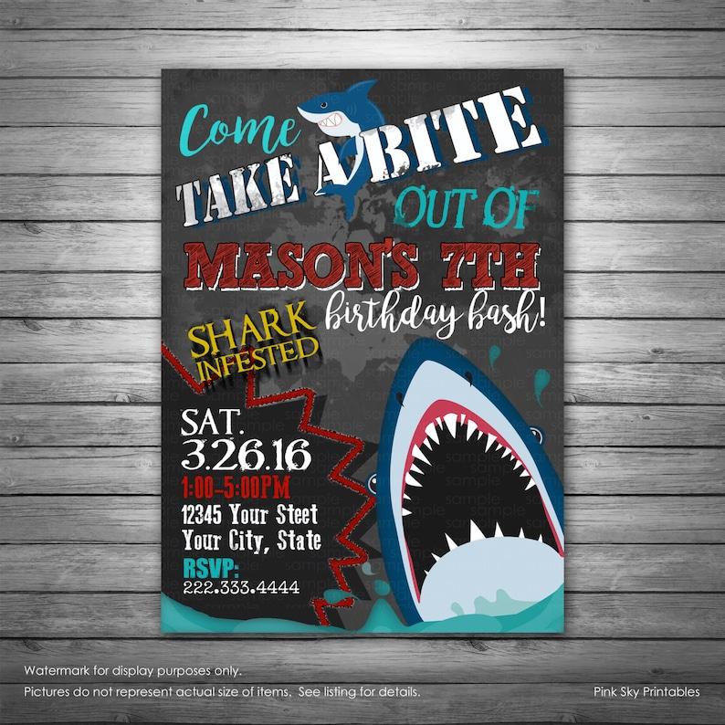 Shark Birthday Invitation Shark Pool Party Shark birthday Etsy