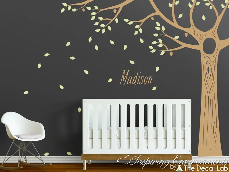 Acorn oak floor to ceiling tree wall decal with leaves and Etsy