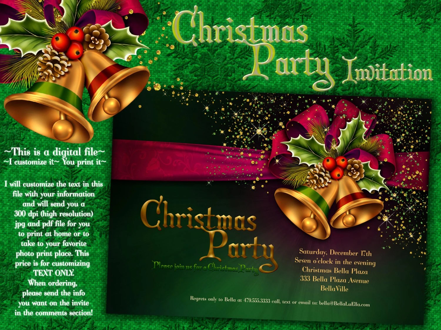 Christmas Party Invitations Christmas Card Christmas Etsy