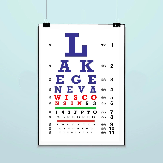 Lake Geneva Eye Chart Wisconsin WI Patent Poster Etsy
