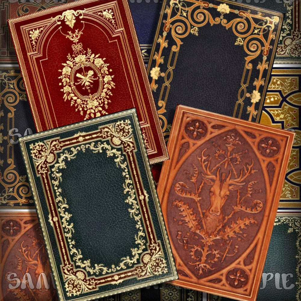 Victorian Book Covers No 1 ATC ACEO Printable Download 25 x Etsy
