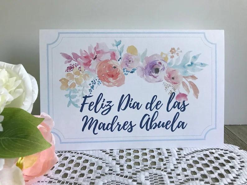 Printable Mother\u0027s Day Card in Spanish Feliz Dia De Las Etsy