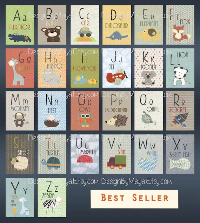 Alphabet Cards A to Z Animal Alphabet Card Set Nursery Wall Etsy