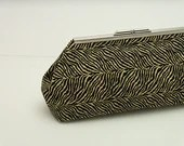 Clutch with snap closure frame - Black and Ivory Zebra print