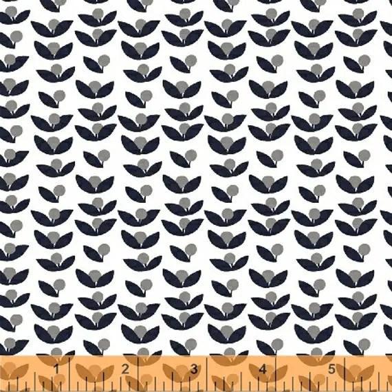 Lotta Jansdotter Fabric - Lilla - Lilla Tove in Stone Grey