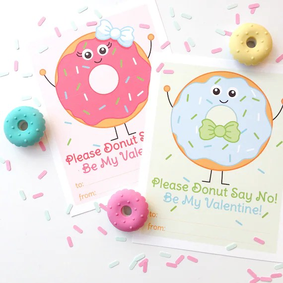 Donut Valentine Printable Cards, Doughnut Valentines, Boy and Girl