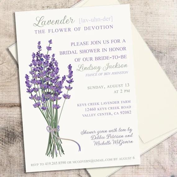 Lavender Wedding Invitation Printable Invitation Purple Etsy