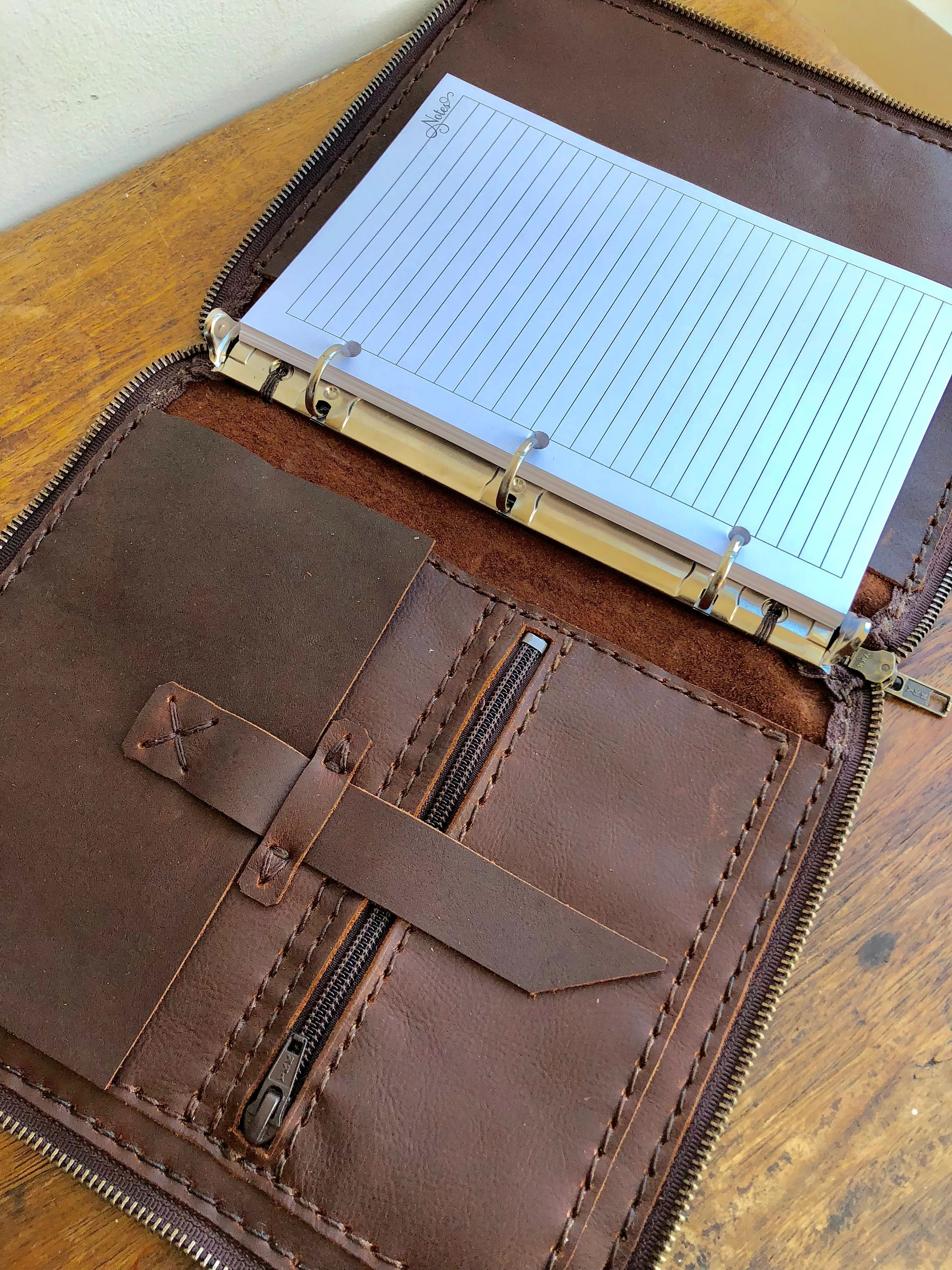 Zippered leather padfolio Small three ring binder 3 ring Etsy