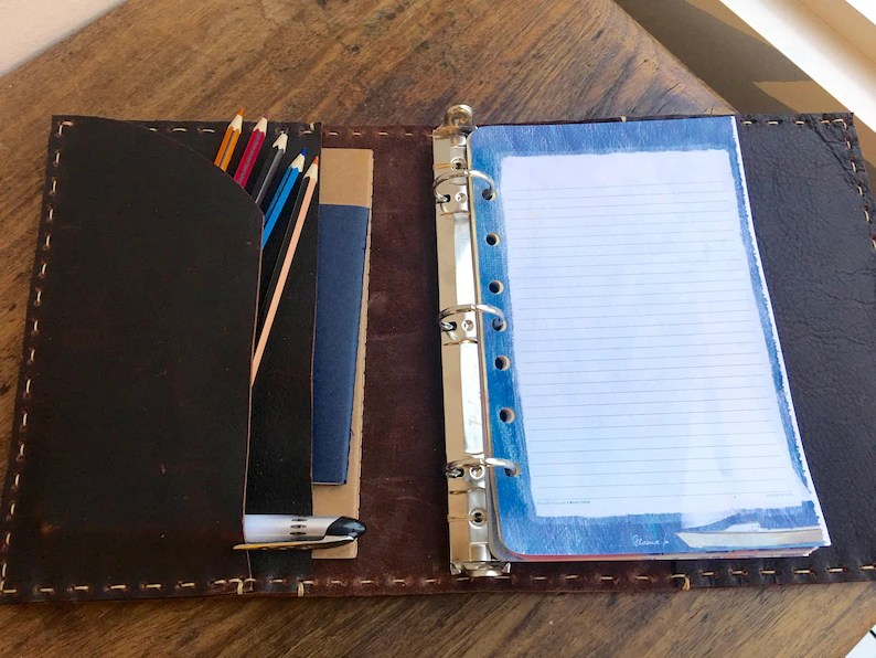 55 x 85 binder Leather 3 ring binders Small a5 planners Etsy