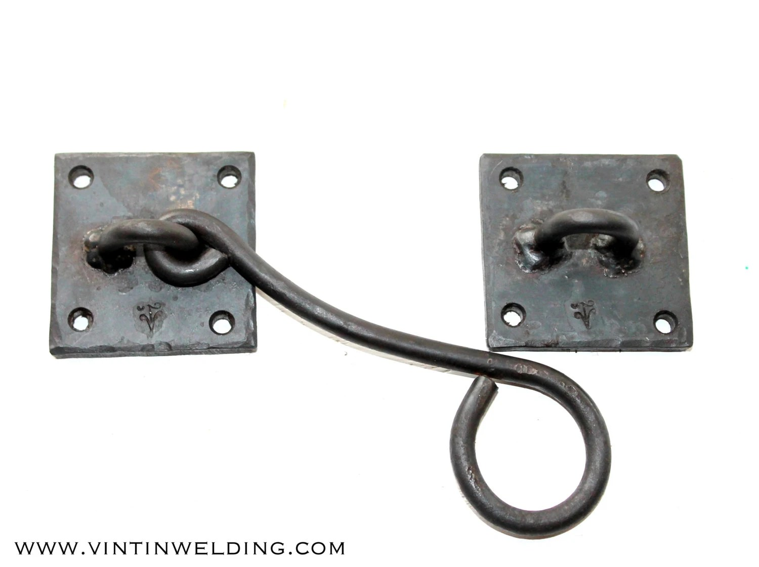 Gate Hardware One Hand Forged Iron Gate Hardware Hasp With Square Base By Vintin