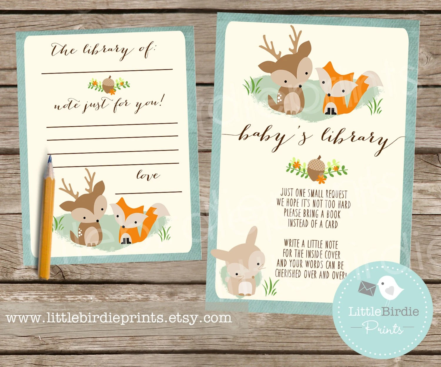 WOODLAND Baby Shower Book Instead of a Card Inserts with Etsy - bookplate template word
