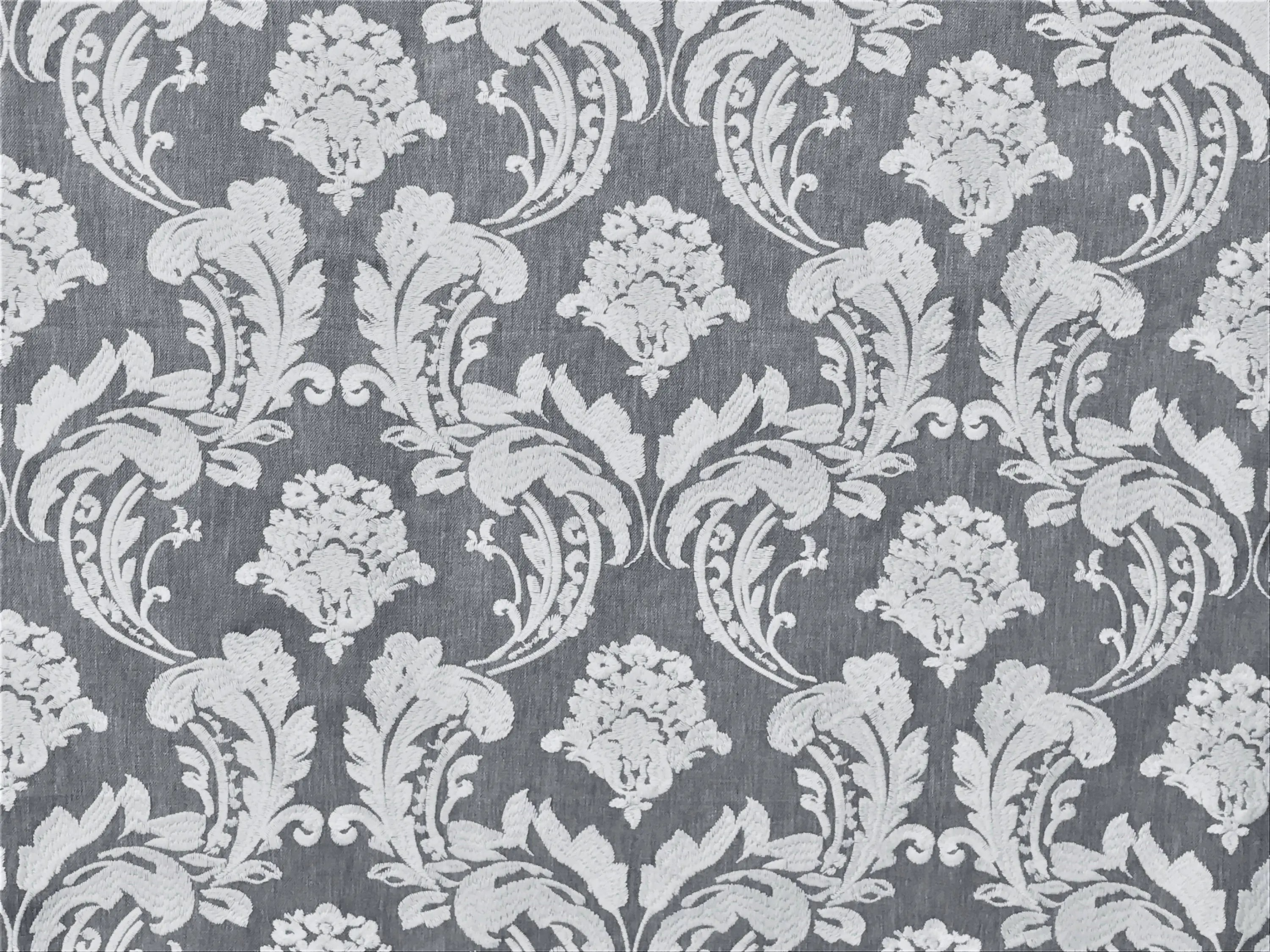 Curtain Fabric Wholesale Gray White Embroidery Damask Curtain Fabric By The Yard Upholstery Fabric Wholesale Drapery Fabric Window Treatment Sofa Fabric For Sale