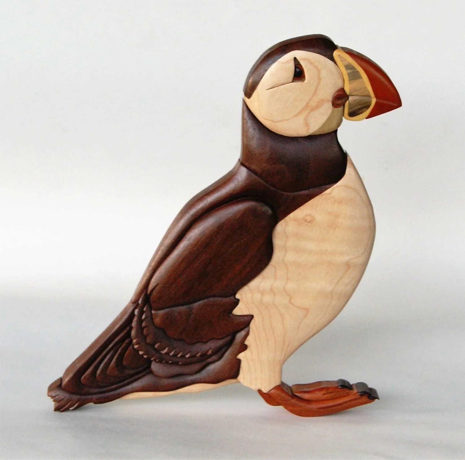 Arte En Madera Intarsia North Atlantic Puffin Intarsia Wall Hanging Wood Carving Wooden Bird Endangered Animal Wall Decor Home Decoration Wooden Intarsia Art