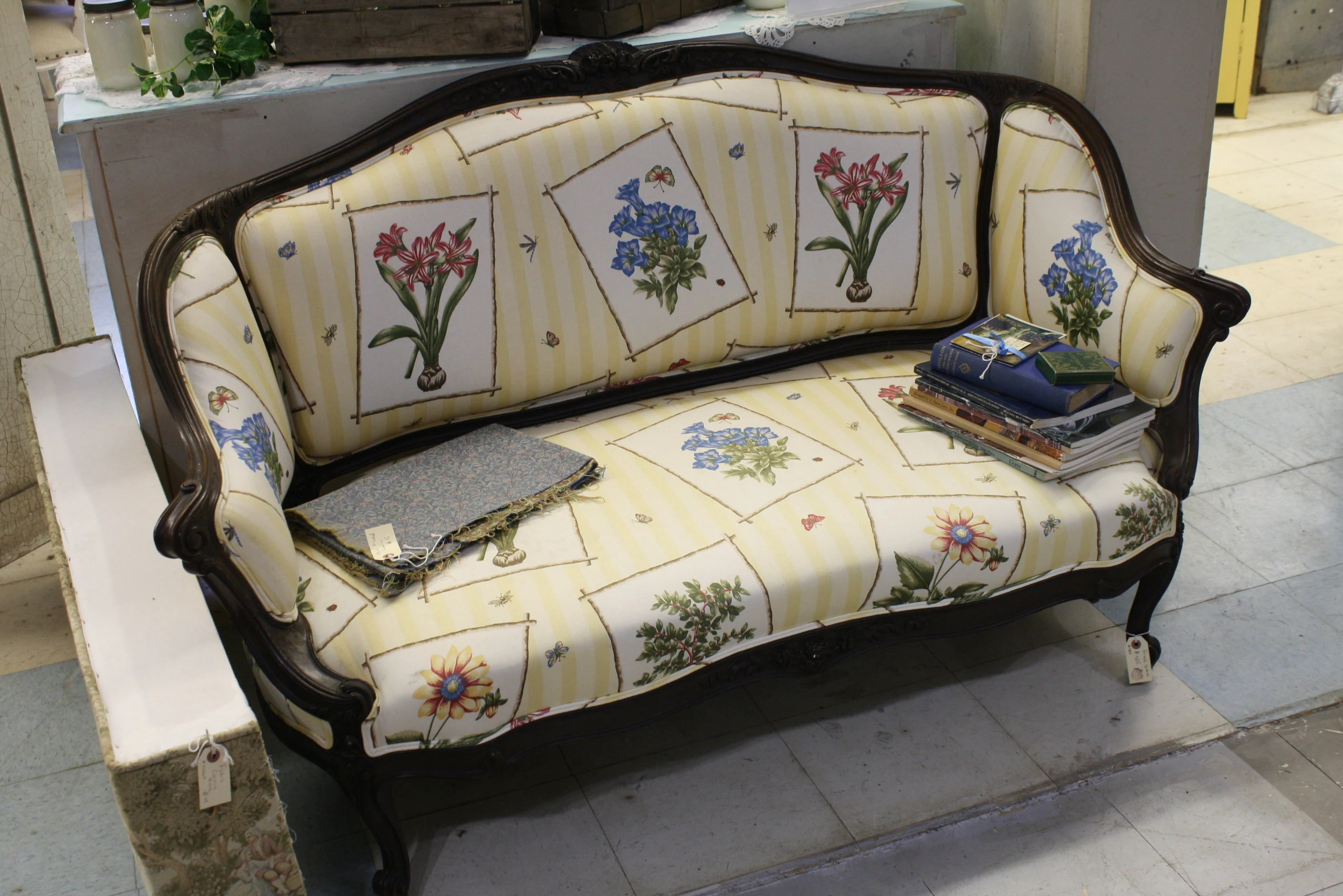 Settee Loveseat Victorian Sofa Settee Loveseat Carved Wood Frame Botanical Floral Upholstery Yellow Stripes English Vintage Antique Seating
