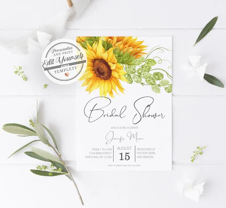 Sunflower Bridal Shower Invitation Sunflower Wedding Shower Etsy