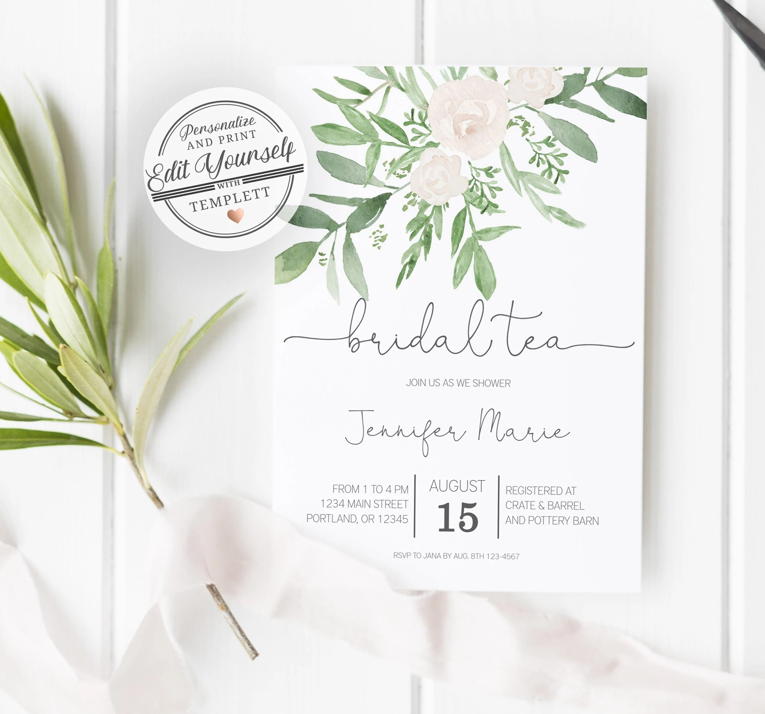 Floral Bridal Tea Invitation Template Editable Instant Download by