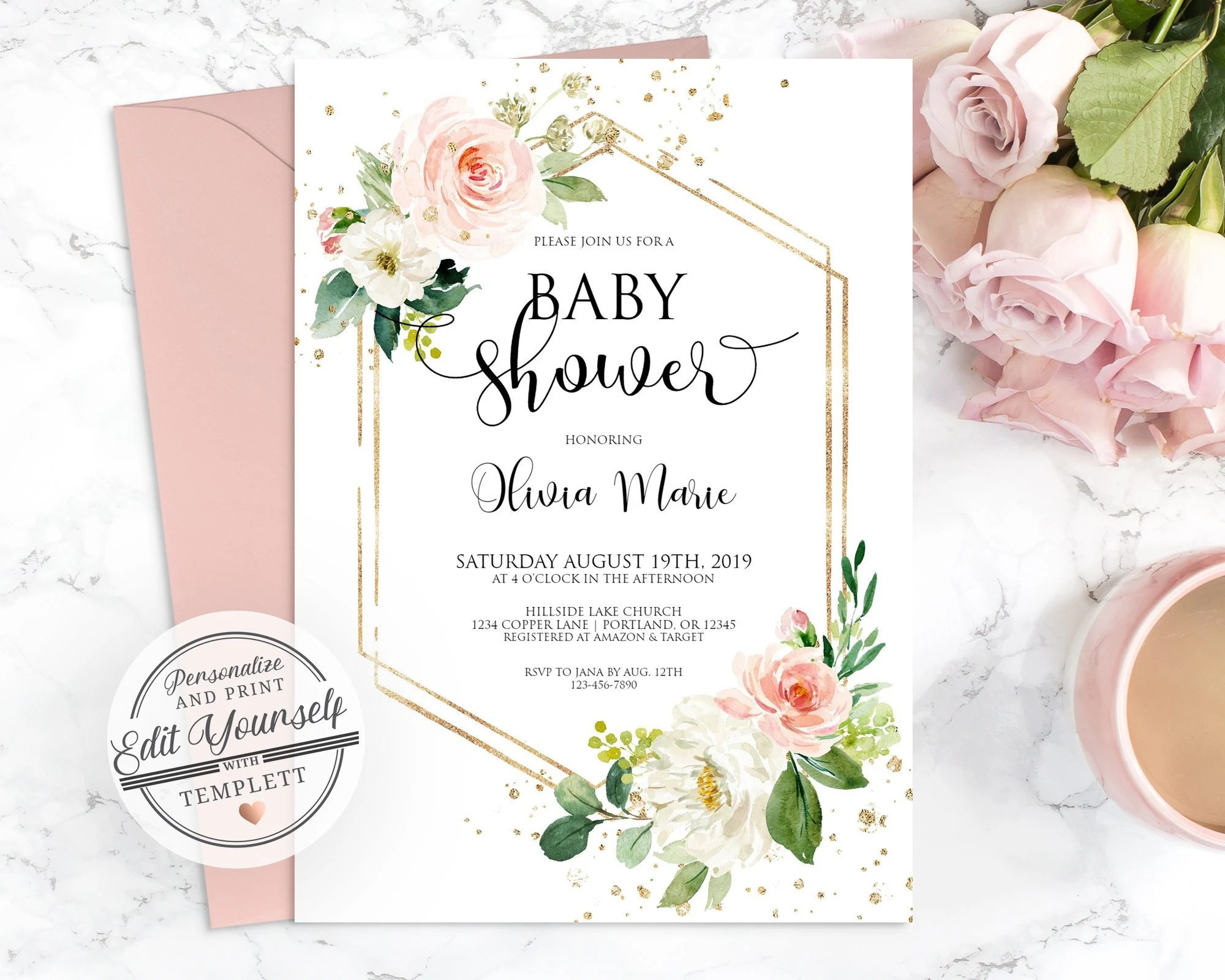 Floral Baby Shower Invitation Template Editable Instant Etsy
