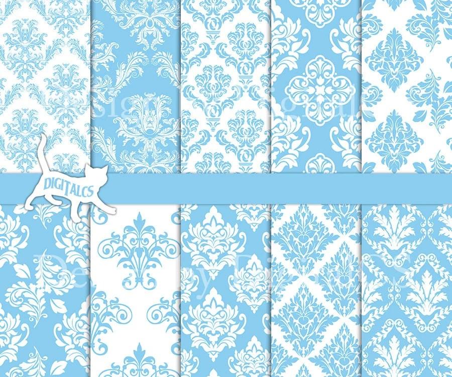 Baby blue digital paper Blue damask digital paper scrapbook Etsy