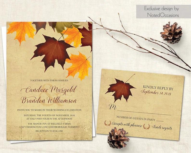 Fall Wedding Invitations Rustic Fall Wedding Invitation Set Etsy