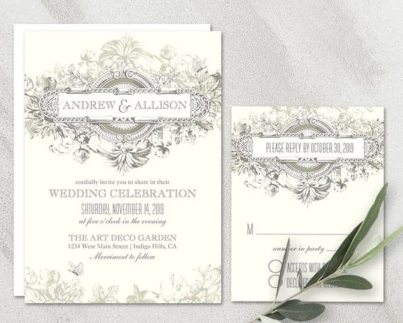 Art Deco Wedding Invitation Printable Set Vintage 20\u0027s Etsy