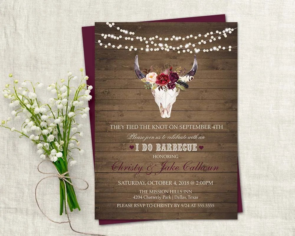 I DO BBQ Wedding Reception Invitation Printable I do BBQ Invitation Purple  Wine Floral Deer Skull Antlers Barbecue Country Digital Template