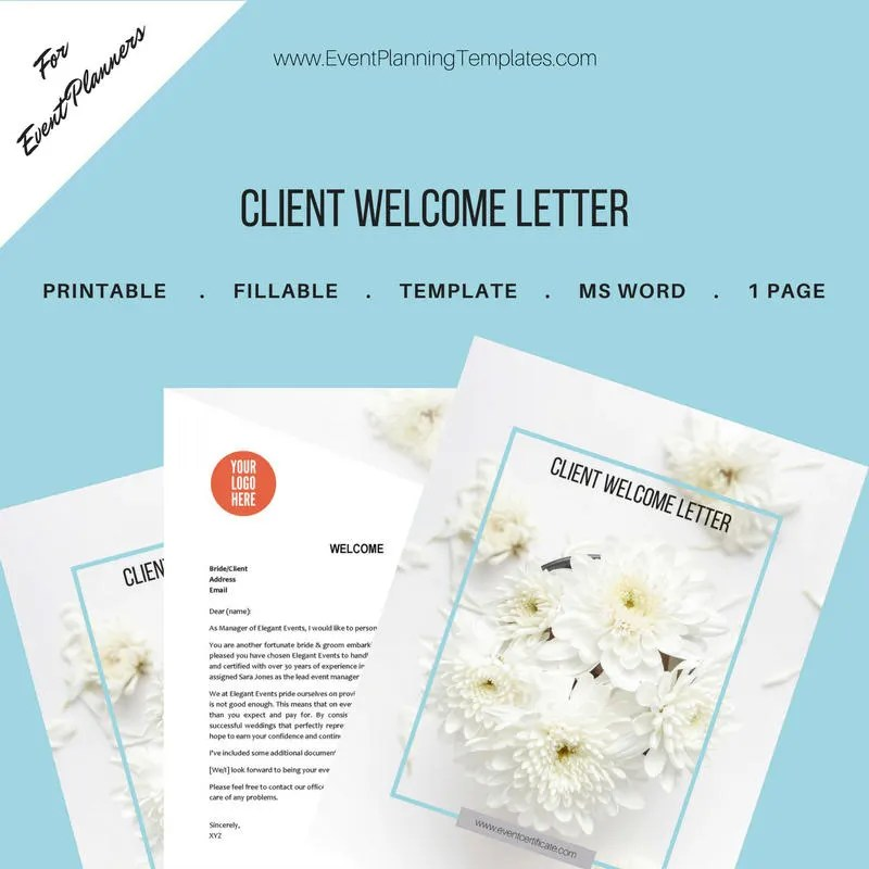 Client Welcome Letter for Event and Wedding Planners Etsy