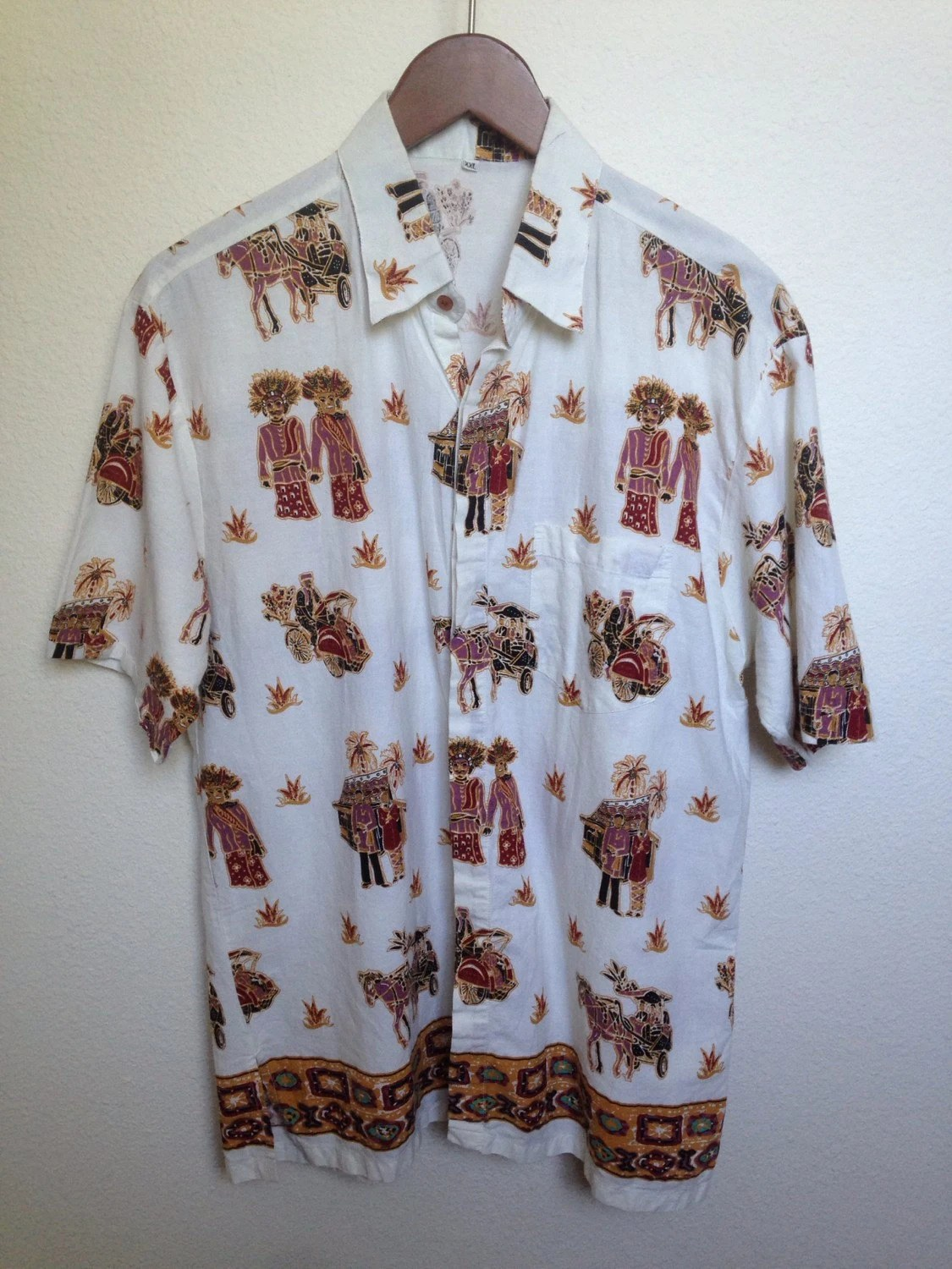Bettwäsche Batik Vintage Batik Shirt Indonesian Tribal Tempo Doeloe Bicycle Cart Horse Drawn Indonesia Ethnic Wedding Ceremony Palm Trees Tropical Festival