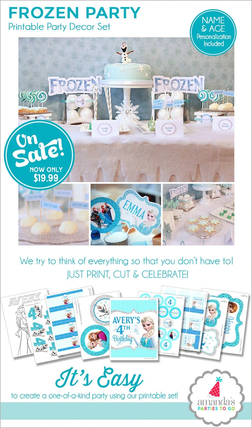 Frozen Birthday Party Decorations Frozen Party Printable Etsy