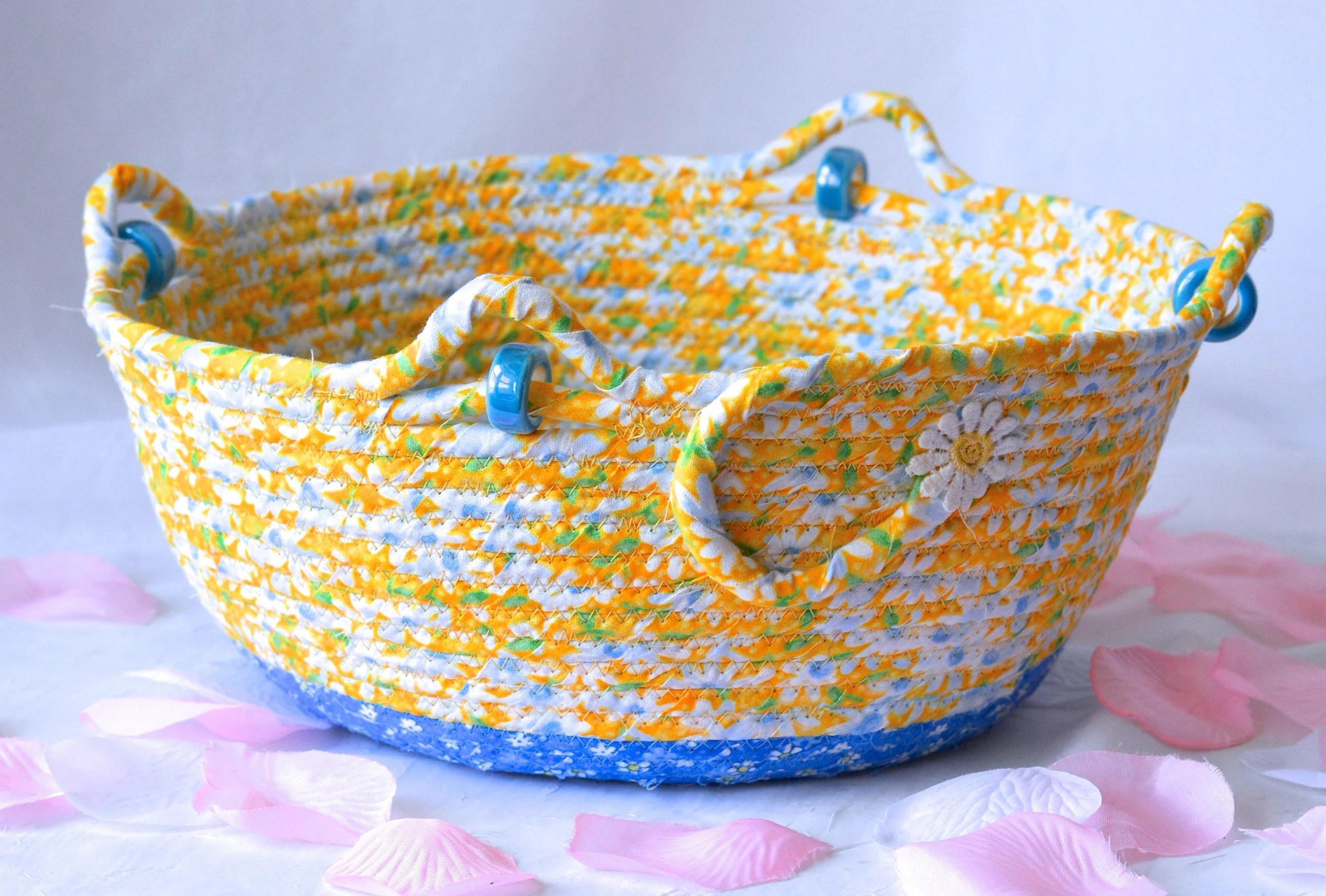 Picnic Decor Picnic Daisy Bowl Yellow Fiber Art Basket Handmade Quilted