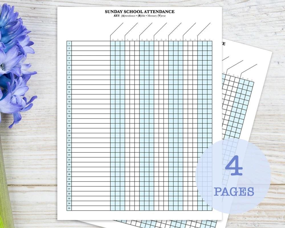 Sunday School Attendance Sheet with Birthday Tracker Etsy