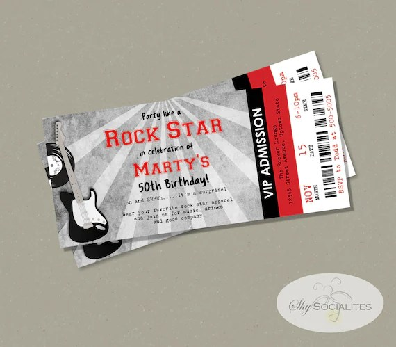 Red  Black Concert Ticket Invitations Instant Download Etsy