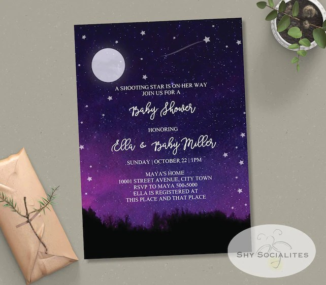Shooting Star Baby Shower Invitation Twinkle Little Star